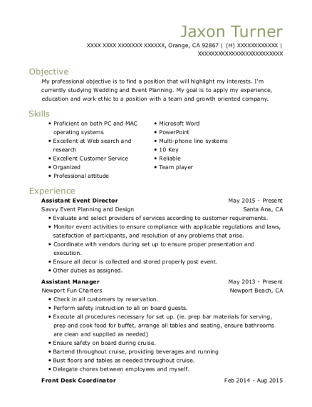 Savvy Event Planning And Design Assistant Event Director Resume ...