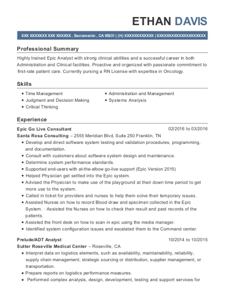 beacon health system epic go live consultant resume sample