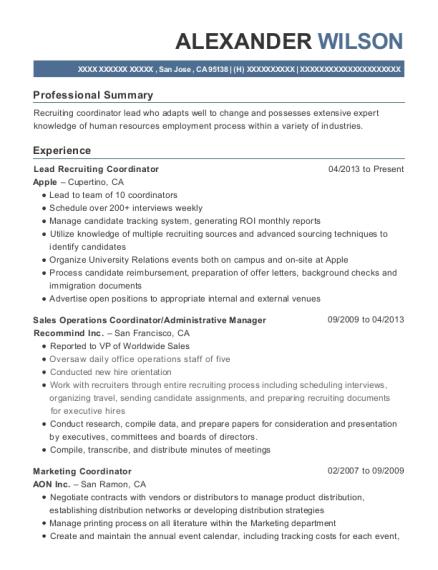 alexander wilson - Recruiting Coordinator Resume