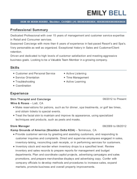 View Resume Skin Therapist And Concierge