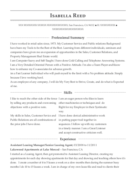Best Assistant Leasing Manager Resumes Resumehelp