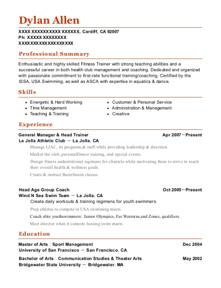La Jolla Athletic Club General Manager & Head Trainer Resume Sample ...