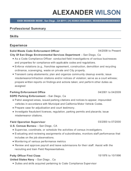 View Resume. Solid Waste Code Enforcement Officer