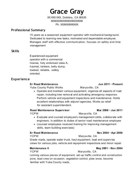 view resume sr road maintenance