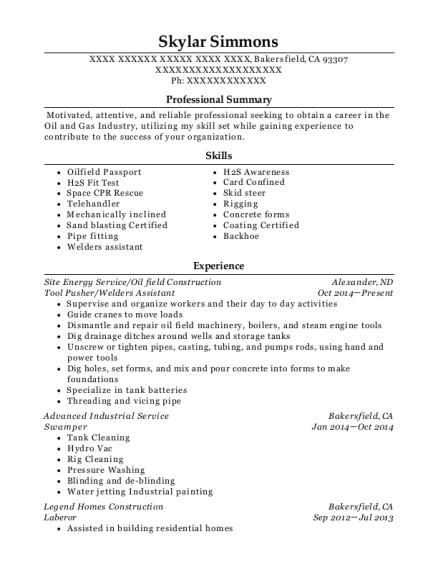 best tool pusher welders assistant resumes resumehelp