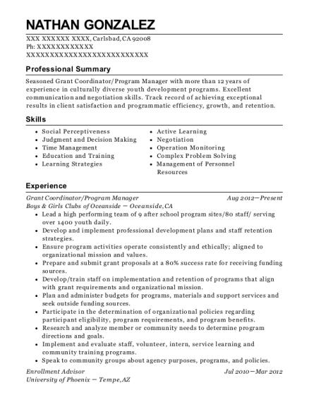 View Resume. Grant Coordinator