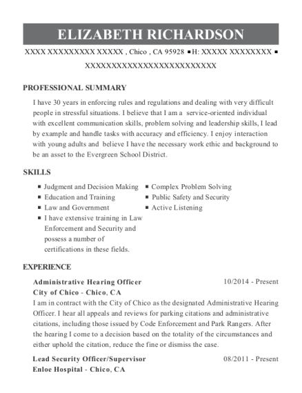 View Resume. Administrative Hearing Officer