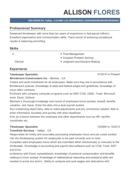 Brinderson Constructors Inc Timekeeper Specialist Resume Sample