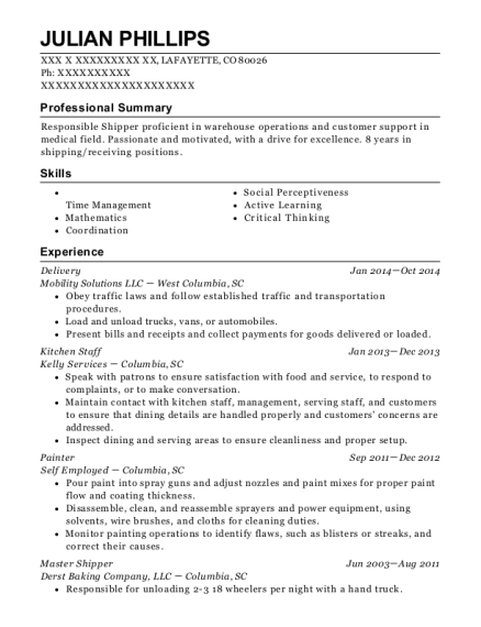 Delivery resume example Colorado
