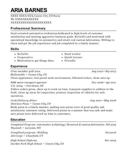 us army national guard 88m motor transport operator resume