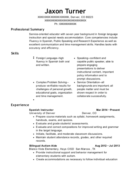Jaxon Turner  Spanish Resume