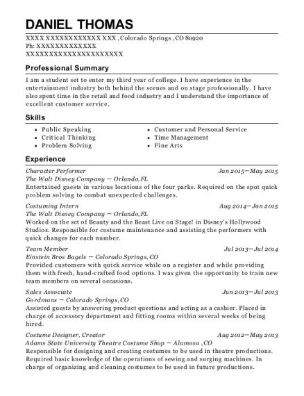best character performer resumes resumehelp