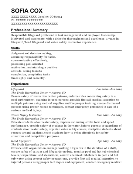 Card Head Lifeguard Resume Sample