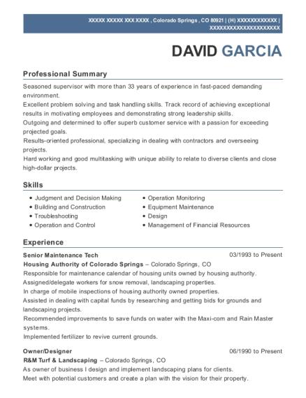 Housing authority of colorado springs senior maintenance tech resume view resume senior maintenance tech colorado springs colorado malvernweather Images