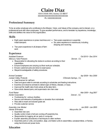 best assistant foreman resumes resumehelp