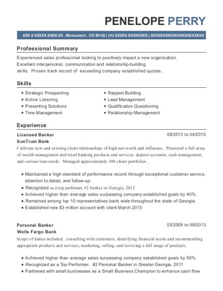 Suntrust Bank Licensed Banker Resume Sample Monument Colorado