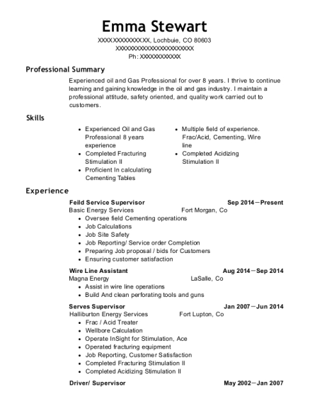 Basic Energy Services Feild Service Supervisor Resume Sample ...