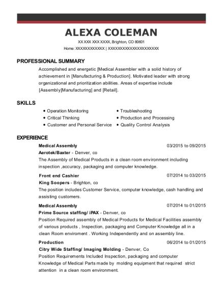 medical assembler resumes