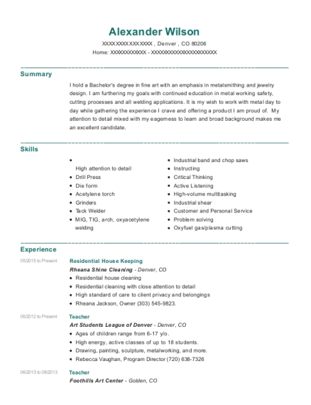 rheana shine cleaning residential house keeping resume sample