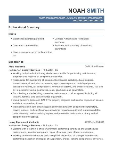 View Resume. Field Mechanic