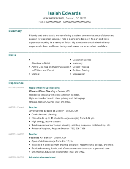 Rheana Shine Cleaning Residential House Keeping Resume Sample ...