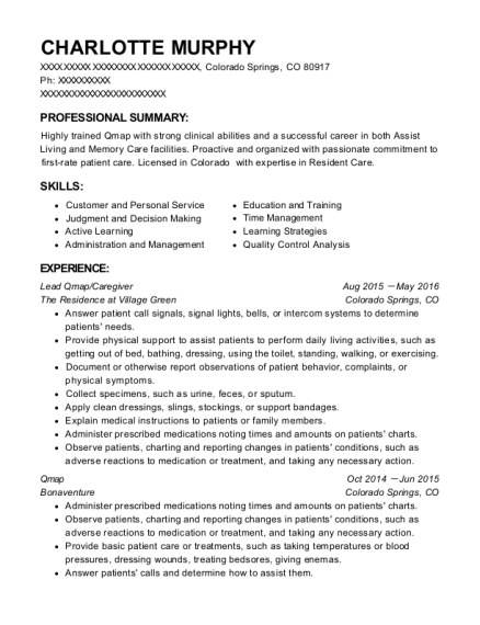 senior housing options qmap resume sample