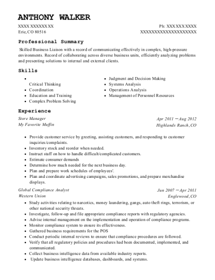 anthony walker compliance analyst resume - Sample Of Business Analyst Resume