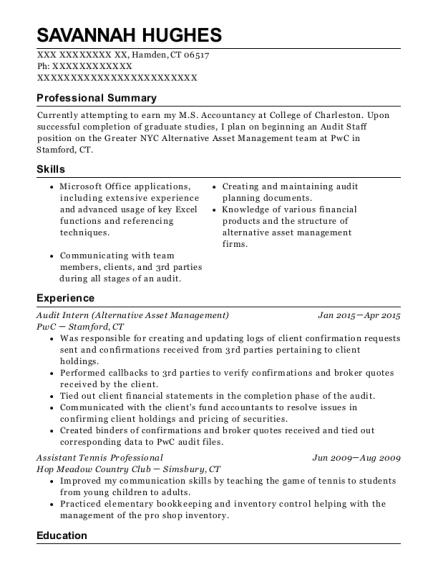 Best Audit Intern Resumes | ResumeHelp