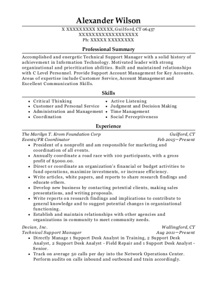 technical support manager resumes