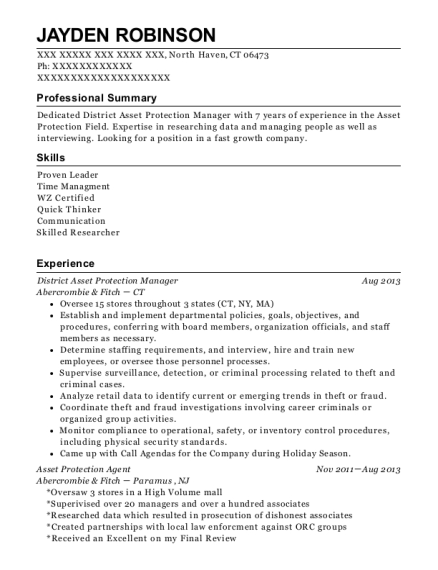 Best District Asset Protection Manager Resumes | ResumeHelp