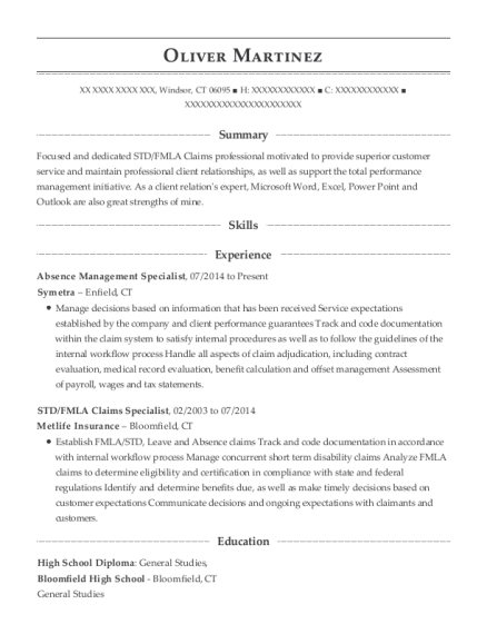 Symetra Absence Management Specialist Resume Sample - Windsor ...