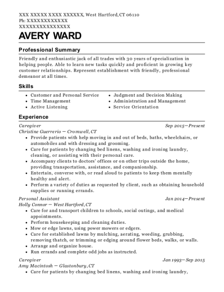 avery ward - Floral Assistant Sample Resume