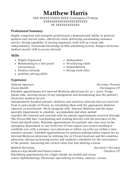 Uconn Health Telecom Operator Resume Sample - Farmington Connecticut ...