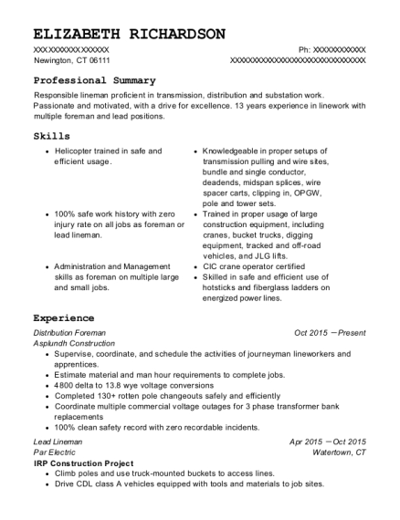 Elizabeth Richardson  Lineman Resume
