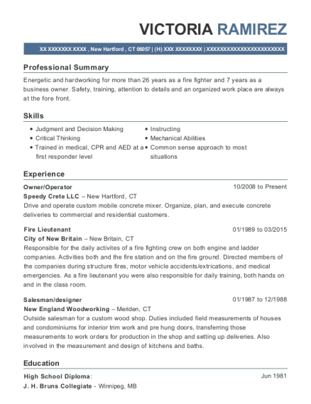 Fire Lieutenant Resume Cablo Commongroundsapex Co