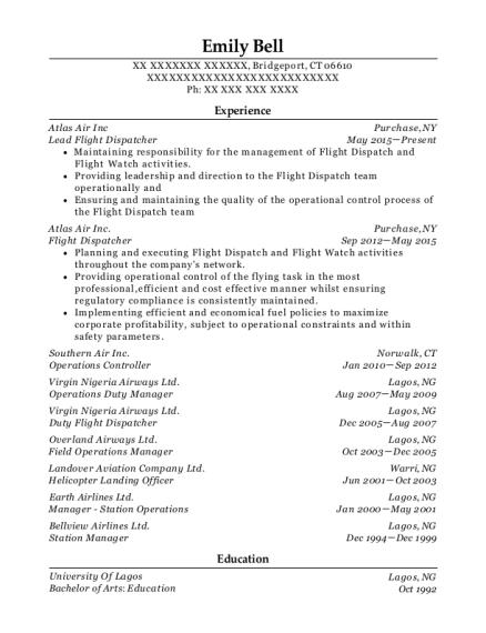 best flight dispatcher resumes
