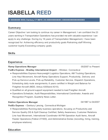Fedex Express Bradley International Airport Ramp Operations Manager ...