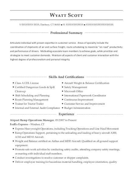 Fedex Express Airport Ramp Operations Manager Resume Sample ...