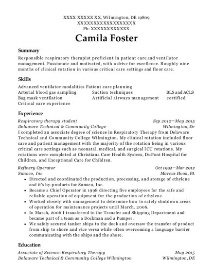 View Resume Respiratory Therapy Student