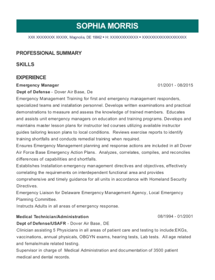 emergency manager resumes