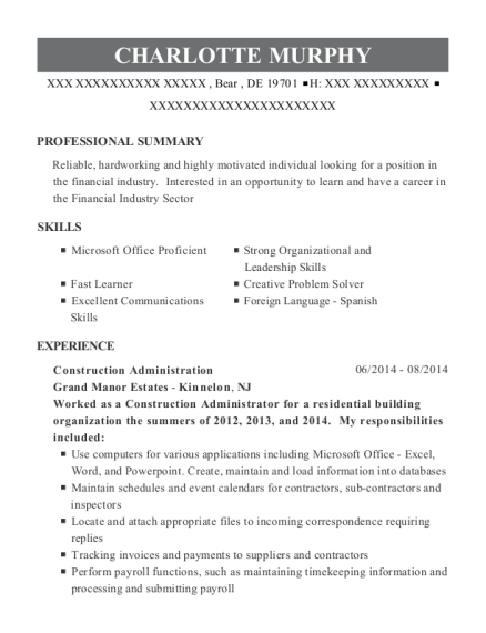 Construction Office Coordinator , Construction Administration. Customize  Resume · View Resume