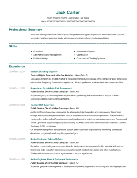 best nuclear shift supervisor resumes resumehelp