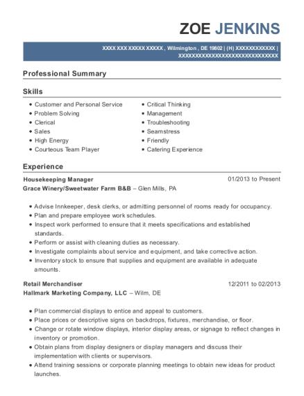 Elegant View Resume. Housekeeping Manager