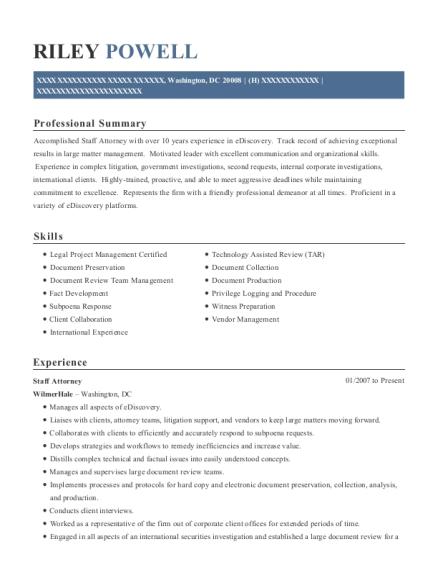 wilmerhale staff attorney resume sample washington district of