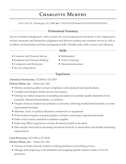 charlotte murphy - Chemical Technician Resume