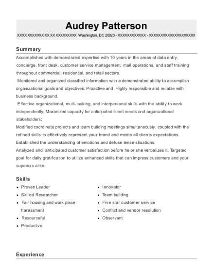 View Resume  Concierge Resume