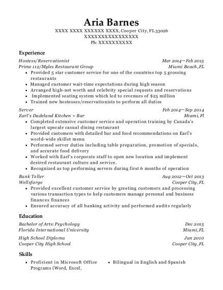 denny u0026 39 s server resume sample