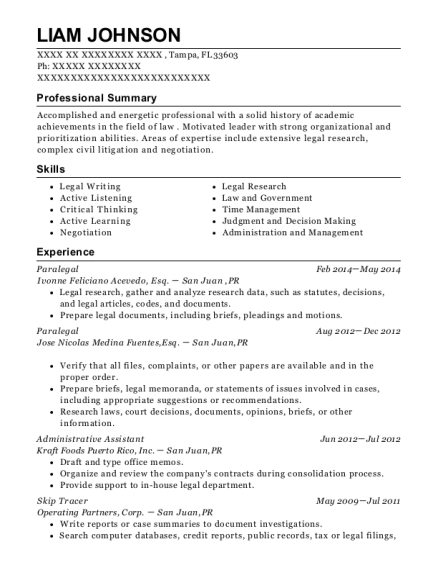 Secured Collateral Management Skip Tracer Resume Sample - Fort Worth ...