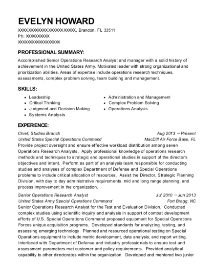 Operations Research Analyst Resume research analyst resume sample Evelyn Howard