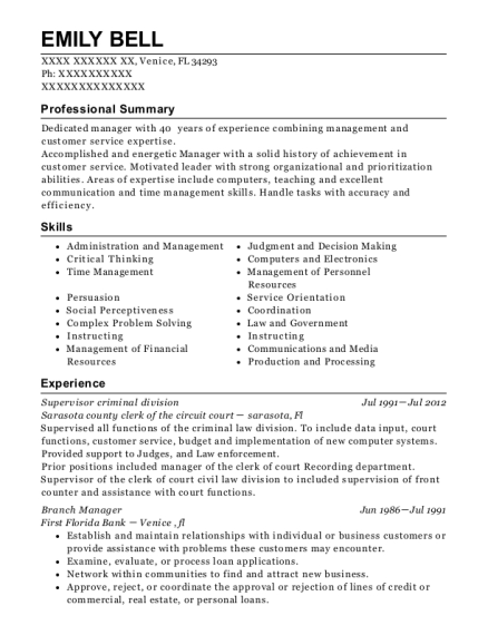 emily bell - Branch Manager Resume